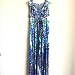 Style & Co Sublimated Blue Print Maxi Dress Size M